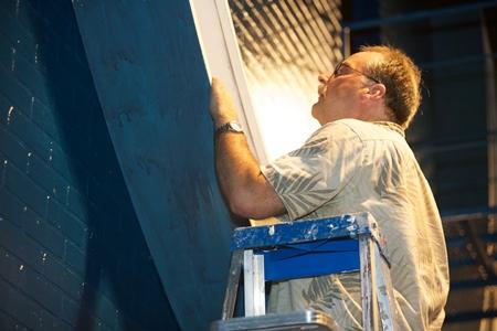Bob Grimes on a Ladder