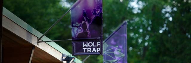 Wolf Trap banners hanging over the Box Office.