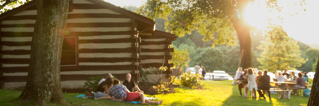 Picnic by the Wolf Trap Log Cabins.