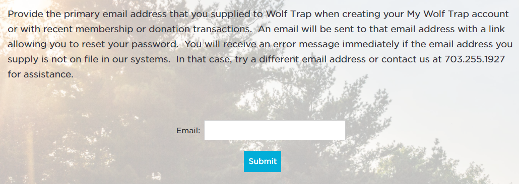 Screenshot of My Wolf Trap forgotten password screen.