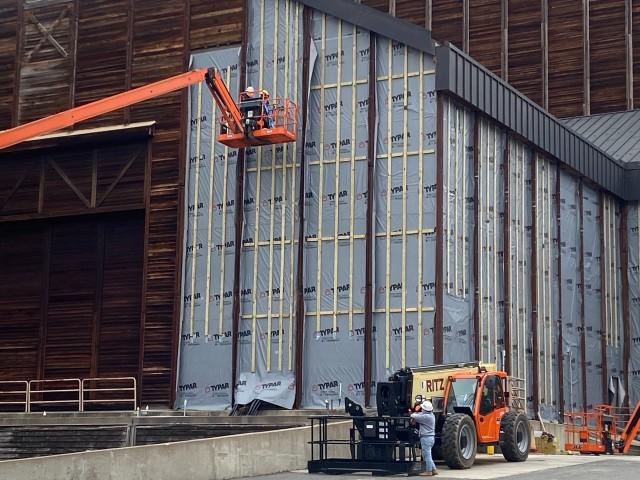 Closeup of siding renovation on the Filene Center.