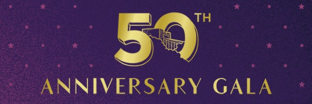 50th Anniversary Gala written in gold over a starry background.