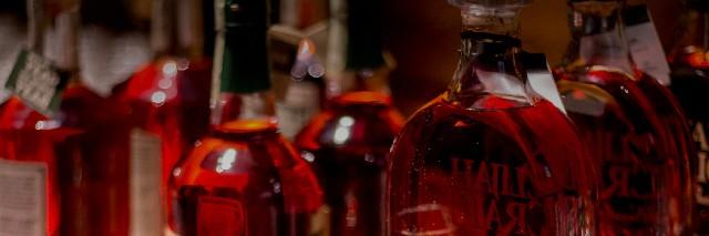 Bourbon bottles.