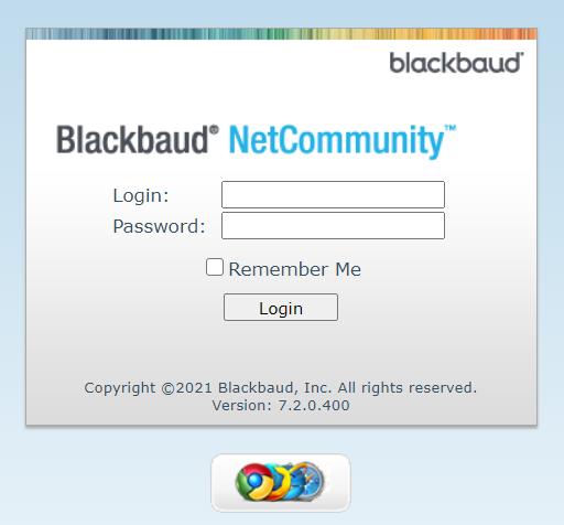 Screenshot of the Blackbaud login screen.
