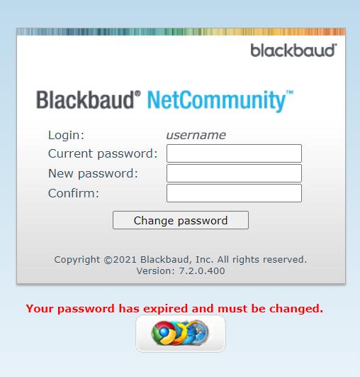 Screenshot of the Blackbaud password reset screen.